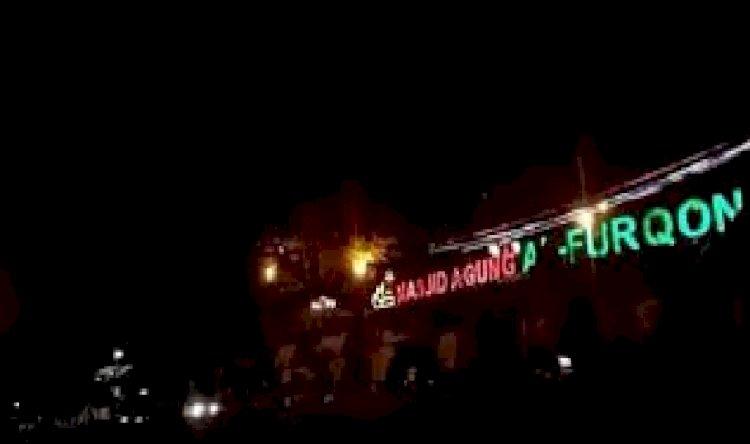 Suasana Taman Kota Lungsir dekat Masjid Agung Al-Furqon sepi pada malam Tahun Baru/ RMOLLampung